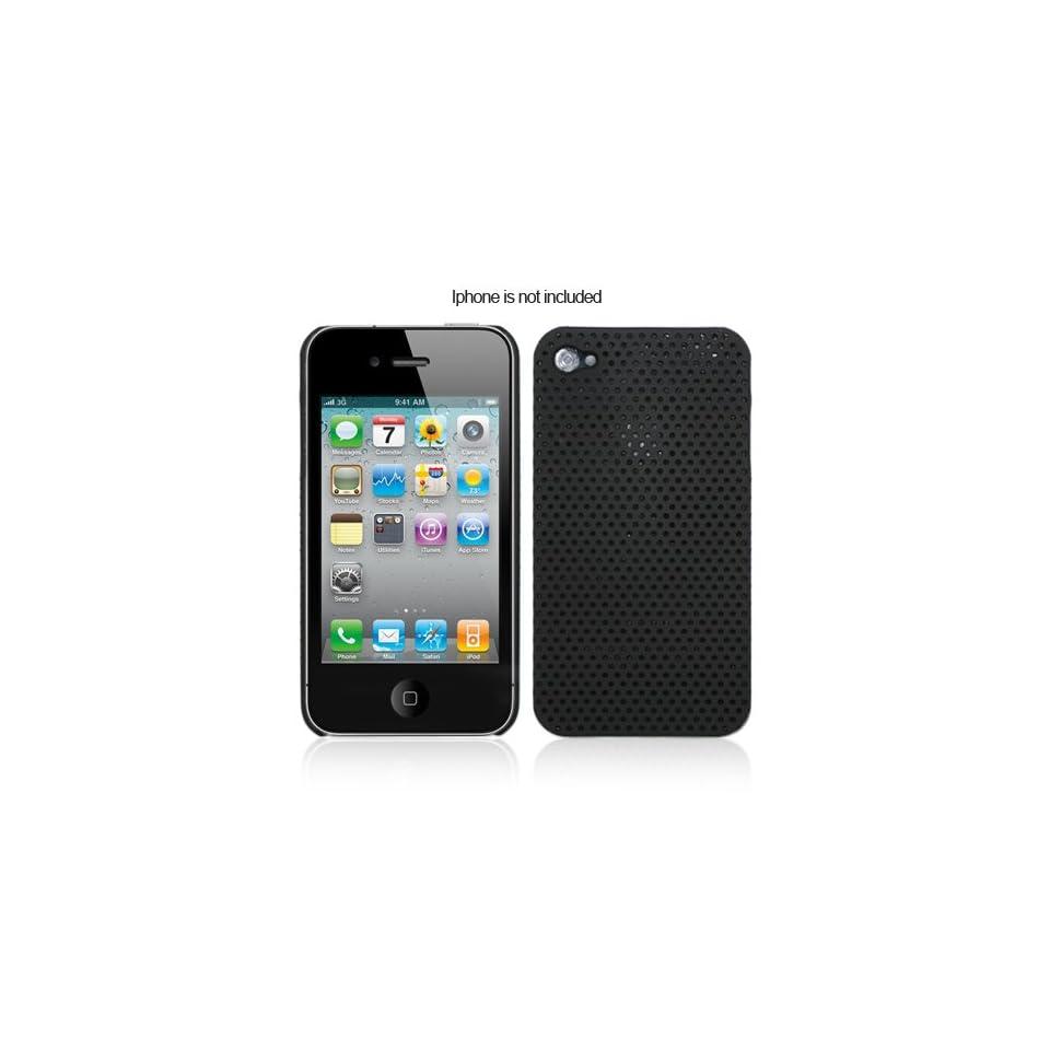 Black Mesh Design Plastic Hard Case for iPhone 4 Cell