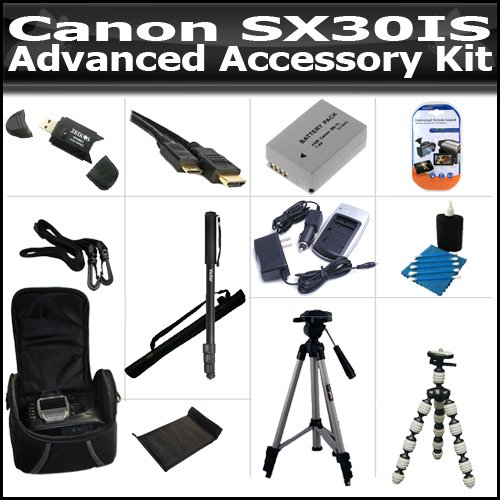 Advanced Accessory Kit For The Canon SX30IS SX30 IS Digital Camera Includes USB 2.0 High Speed Card Reader + Extended Replacement NB-7L (1300 mAH) Battery + Ac/Dc Rapid Battery Charger + Deluxe Case + 50 Inch Tripod + 67 Inch Monopod + More