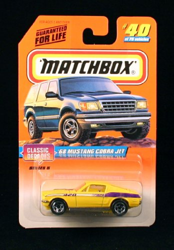 '68 MUSTANG COBRA JET * YELLOW * Classic Decades Series 5 MATCHBOX 1998 Basic Die-Cast Vehicle (#40 of 75) - 1