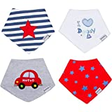Baby Bandana Drool Bibs with Adjustable Snaps - 4-Pack - Made with Soft, High Quality Absorbent Cotton - Teething Bib for Infants & Toddlers - Unisex (For Boys & Girls)