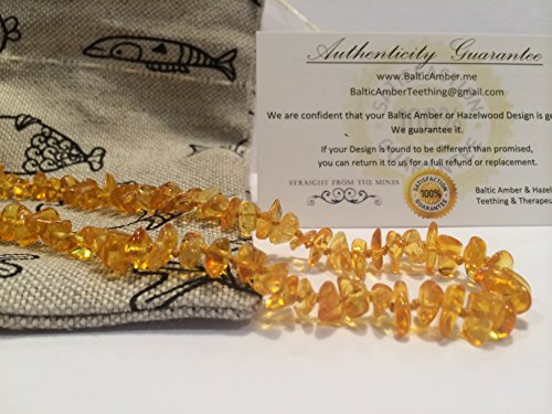 14 Inch Baltic Amber Teething Necklace for Toddler and Big Kid and some adults (Unisex) - Lemon Yellow Anti Flammatory, Drooling & Teething Pain Reduce Properties - Growing Pains. Certificated Natural Oval Baltic Jewelry with the Highest Quality Guaranteed. Easy to Fastens with a Twist-in Screw Clasp Mothers Approved Remedies! 14 inches, Helps some with colic & eczema.