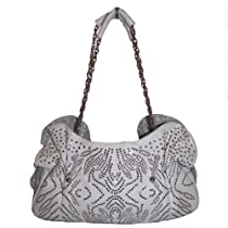 Blue Elegance Crystal and Stud Hobo Handbag (White)