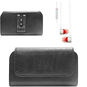 DMG Premium PU Leather Cell Phone Pouch Carrying Case with Belt Clip Holster for Samsung Galaxy E5 (Black) + White Stereo Earphone with Mic and Volume Control