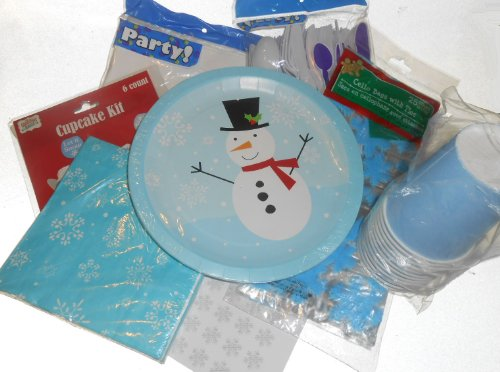 Christmas Holiday Snowman Birthday Party Supplies - Plates, Napkins, Silverware, Cups, Tablecover, Goodie Bags, Cupcake Kit & Matching Kiss Labels Favors