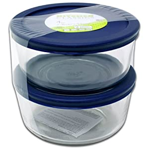 4 Cup Round Glass Storage Containers, Set of Two, BPA Free Lids, by Kitchen Classics