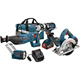 Bosch CLPK402-181 18-Volt 4-Tool Lithium-Ion Cordless Combo Kit with 1/2-Inch Hammer Drill/Driver, Reciprocating Saw, Circular Saw and Flashlight