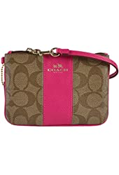 Coach Signature PVC Leather Small Wristlet 52860 Khaki Pink Ruby