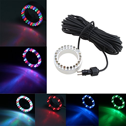AGPtek 12V 24 LED Multi-Color Underwater Ring Light Bulb For Water Garden Fountain/Pond/Swimming Pool