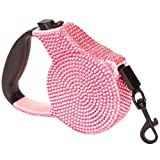 Pink Crystal Case Rhinestone Retractable Dog Leash Small 9 Feet Long Supports up to 30-Pound