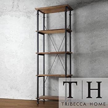 Tribecca Home Myra Vintage Industrial Modern Rustic Bookshelf, Brown