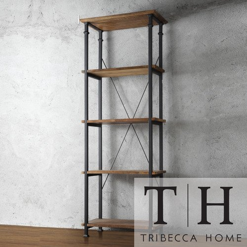 Tribecca Home Myra Vintage Industrial Modern Rustic Bookshelf, Brown 0