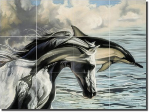 Brother Earth, Sister Sea by Kim McElroy – Artwork On Tile Ceramic Mural 18″ x 24″ Kitchen Shower Backsplash