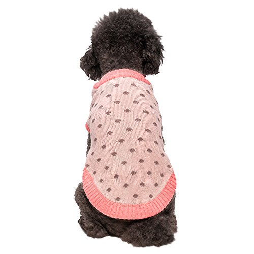 Blueberry Pet 10-Inch Polka Dot Princess Designer Dog Sweater, Small, Blanched Almond And Chocolate Plum front-188091