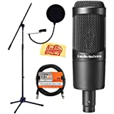 Audio-Technica AT2035 Cardioid Condenser Microphone Bundle With Boom Stand, XLR Cable, Pop Filter, And Austin...