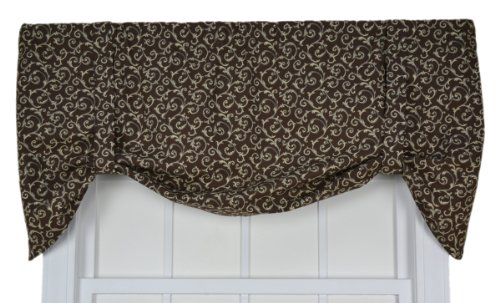 Tremblay Small Scale Scroll Tie Up Valance Window Curtain, Brown