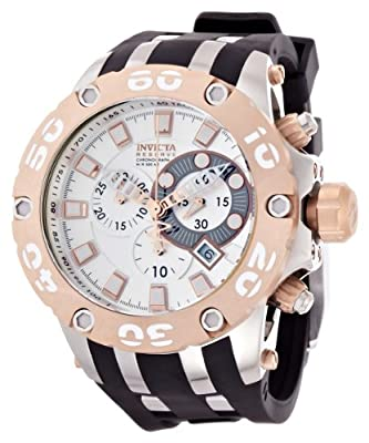 Invicta Men's Rose Two Tone Reserve Diver Chronograph Swiss Quartz Black Strap