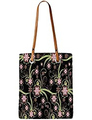 Snoogg Abstract Flowers In Black Womens Digitally Printed Utility Tote Bag Handbag Made Of Poly Canvas With Leather...