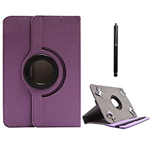 DMG Protective Flip Book Cover Stand View Case for Asus ME172V-1G070A 7in Tab (Purple) + Capacitive Touch Screen Stylus