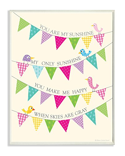 The Kids Room by Stupell You are my Sunshine with Birdies and Banners Rectangle Wall Plaque
