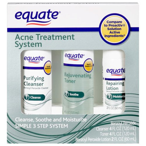 Equate Acne Treatment System, 3 Step Kit (Purifying Cleanser, Rejuvenating Toner, Repairing Lotion) (Equate Purifying Cleanser compare prices)