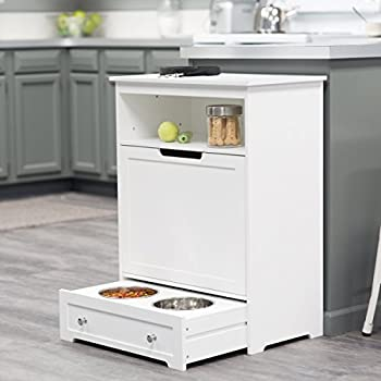Boomer & George White Pet Feeder Station with Food Storage Area and Pull Out Bowl Tray by Boomer & George