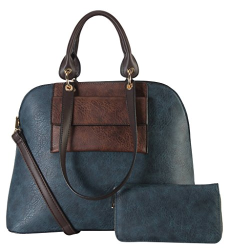diophy-pu-leather-front-pocket-two-tone-bag-in-bag-top-handle-tote-accented-with-wallet-2-pieces-set