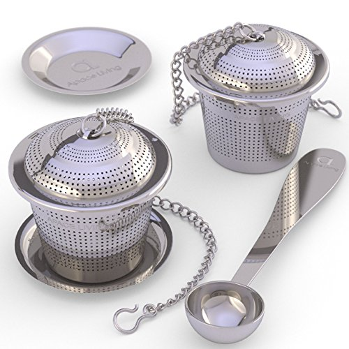 Check Out This Loose Leaf Tea Infuser (Set of 2)  with Tea Scoop and Drip Trays - Ultra Fine Stainle...