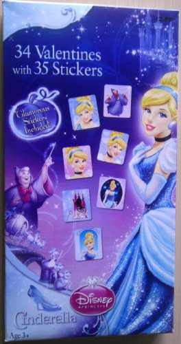 Disney Princess Cinderella Valentine Cards with Stickers (BESP121271) - 1