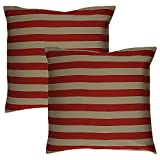Home Kouture Polyester Set Of 2 Stripetease Cushion Cover; Gold And Red, 40.64 X 40.64 CM