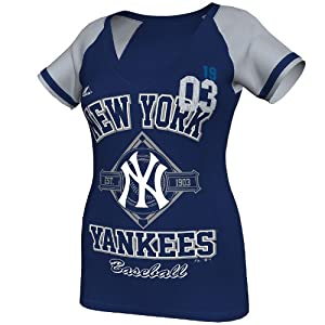 MLB New York Yankees Ladies This Is My City T-Shirt, Navy Heather Grey by Majestic
