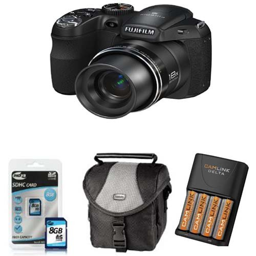 Fuji Finepix S2950 Digital Camera 18x Zoom + 4AA NiMh Batteries+Charger+Case+8GB High Speed Memory (Fujifilm Finepix S2950 HD 14MP 18x Zoom 3
