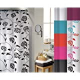 Camden Black Water Repellent Polyester Shower Curtain Including 12 Curtain Ringsby Textiles Direct