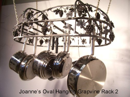 Cheap Hanging Grapevine Oval Pot Rack with Top Grape Vine (hogt)