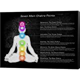 Seven Main Chakra Points Canvas Art Wall Picture, Museum Wrapped with Black Sides, 24 x 18 inches