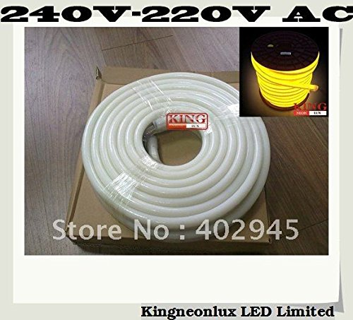 Led Neon Flex Yellow Color 10M/Roll Led Soft Neon Light Led Flexible Neon Strip Led Neon Rope Lights 240V 220V 80Pcs/M