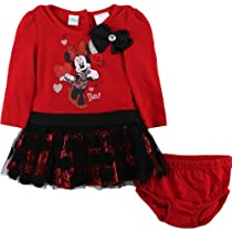 Disney Baby-girls Infant 2 Piece Minnie Mouse So Diva Dress Set, Medium Red, 12 Months