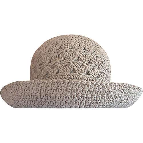 Ladies Packable Summer Straw Sun Hat with Turn Up Brim (Grey)