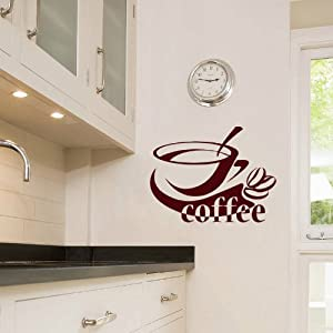 Cup Of Coffee Smoke Cafe Dining Room Kitchen Decor Wall Vinyl Decal Art Stick