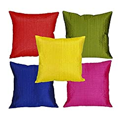Mesleep Multi Stripe Quilted Cushion Cover (16X16)-5Pc Combo