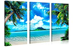 CARIBBEAN ISLAND - Beach Landscape with Palm Trees Gallery Wrapped Canvas Print Size: 52\