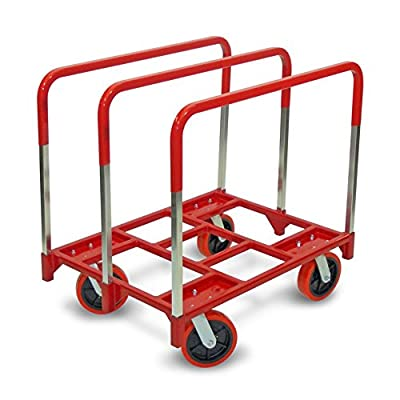 "Raymond 3880 Steel Panel Mover with 3 Standard Upright and 8"" x 2"" Quiet Poly Caster, 2400 lbs Capacity, 42/16"" Length x 31/13"" Width x 6/10"" Height"