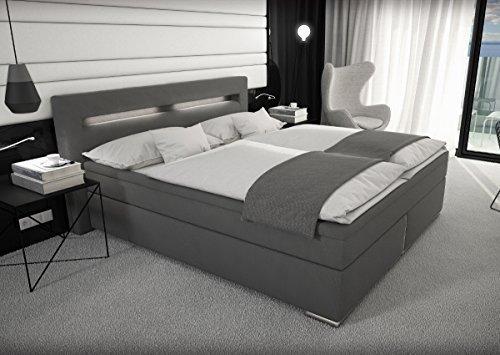 Designer Stoff Boxspring Bett mit LED Beleuchtung 180x200 cm Farbe grau mit Matratze Stoffbett Polsterbett mit Stoffbezug modern Boxspringbett gunstig (180x200 cm mit 7 cm Gelschaum Topper)