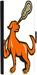 Snoogg Dog With Lacrosse Stick Side View Designer Protective Phone Flip Case Cover For Intex Eco 102E