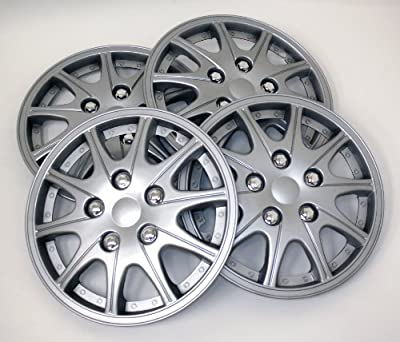 TuningPros WSC-005S14 Hubcaps Wheel Skin Cover 14-Inches Silver Set of 4