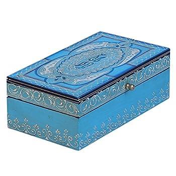 Turquoise Blue Decorative Box - SouvNear Jewelry Box Wooden Stylish Storage Keepsake Box
