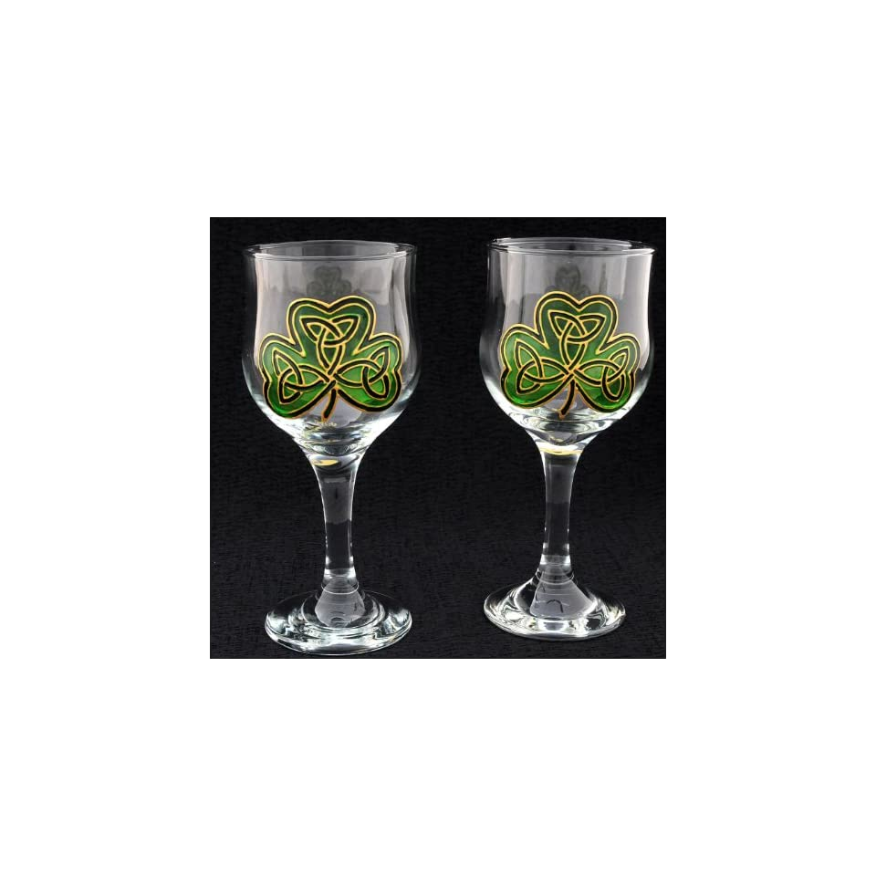 e94112c7b61 Celtic Glass Designs set of 2 Hand Painted Wine Glasses in an Irish Shamrock  Design.