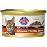 Hill's Science Diet Adult Optimal Care Gourmet Turkey Entree Minced Cat Food, 3-Ounce Can, 24-Pack