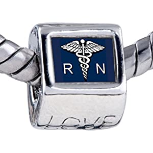 Registered Nurse Caduceus Rn Love Beads Fit Pandora Charms And Bracelets