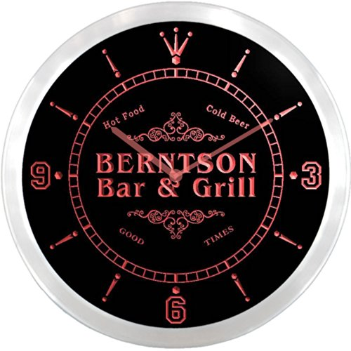ncu03428-r BERNTSON Family Name Bar & Grill Cold Beer Neon Sign LED Wall Clock