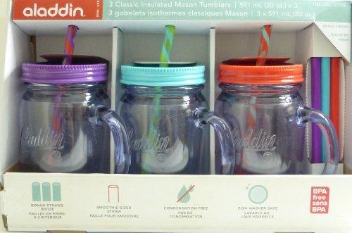 Aladdin 3 Classic Mason Jar Tumblers W/Straws & Lids Purple Turquoise Red 20 Oz front-1068760
